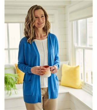 Pointelle Yoke Open Cardigan