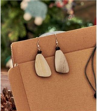 Wooden Pebble Earring