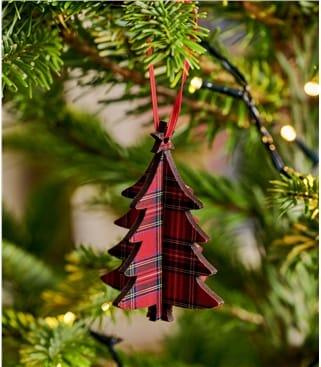 3D Christmas Tree Tartan Decoration