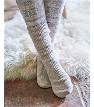 Womens Cashmere Merino Bed Socks