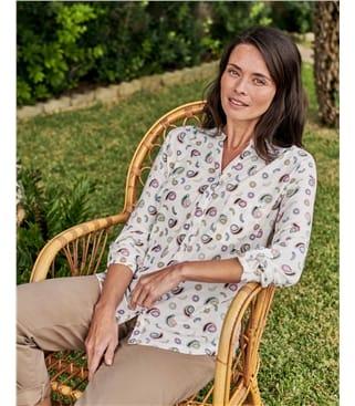 Chemise à col mao - Femme - Jersey