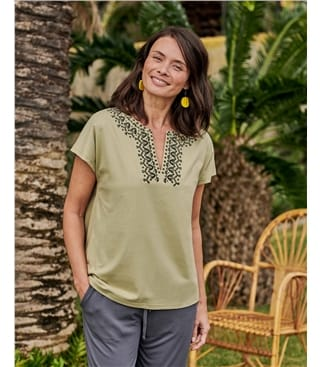 Embroidered Yoke Tshirt