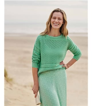 Organic Cotton Pointelle Jumper
