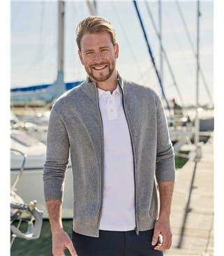 Organic Cotton Cashmere Zip Through Cardigan