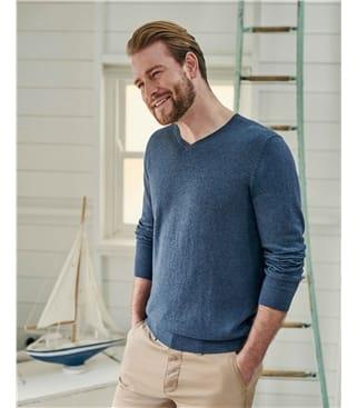 Pullover mit V-Ausschnitt aus Bio-Baumwolle und Kaschmir für Herren