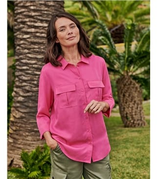 Chemise à manches 3/4 - Femme - Lyocell