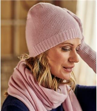 Womens Premium Pure Cashmere Hat 1size Pastel Pink