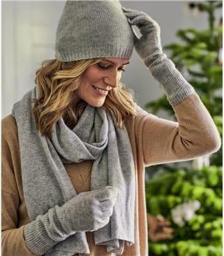 Womens Premium Pure Cashmere Scarf 1size Glass Grey