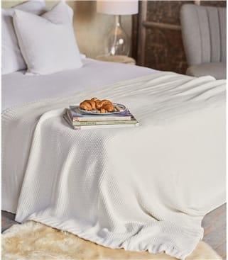 100% Cotton Moss Stitch Blanket