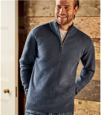 Mens Lambswool Zip Neck Jumper