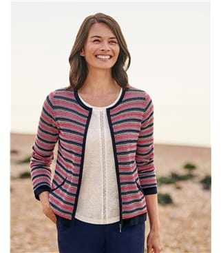 Organic Cotton Lightweight Textured Stripe Zip Up Cardigan