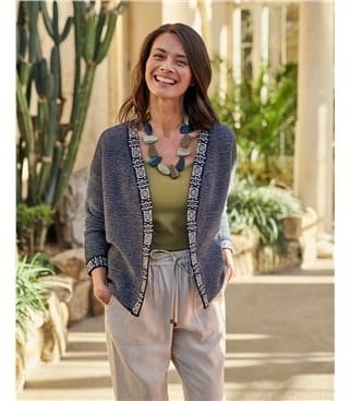 Organic Cotton Open Embroidered Placket Cardigan