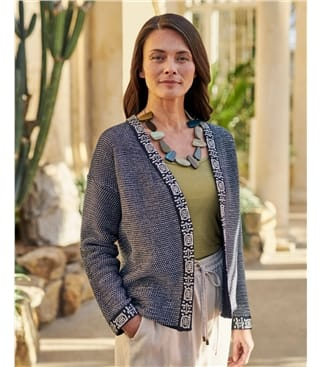 Open Embroidered Placket Cardigan