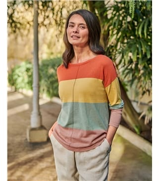 Colour Block Linen Cotton Jumper