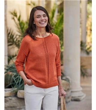 Boat Neck Sweater With Centre Front Detail