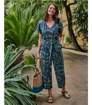 Combinaison à imprimé tropical - Femme - Viscose & Lin