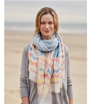 Stripe Jacquard Wave Cotton Scarf