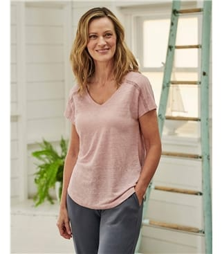 T-Shirt dentelle à col V - Femme - Jersey