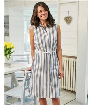 Платье с поясом из хлопка