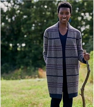Womens Lambswool Check Coatigan