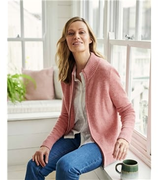 Lambswool Zip Thru Cardigan