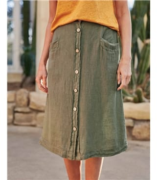 Linen Button Through Skirt