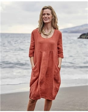 Womens Linen Pocket Tunic Dress