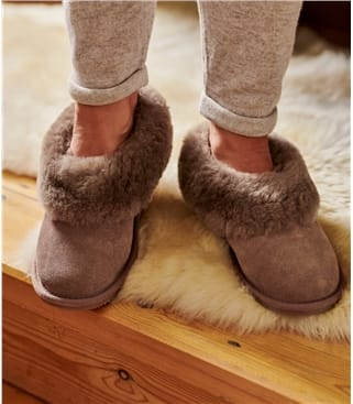 Womens Short Sheepskin Slipper Boot UK 3 Mink