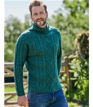 Pure Wool Knitted Aran Polo Neck Jumper