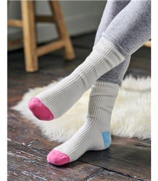 Cashmere and Merino Colourblock Bed Socks