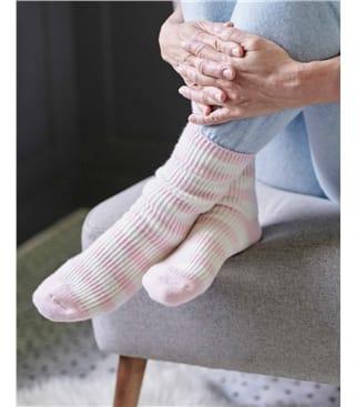 Chaussettes à rayures - Femme - Cachemire & Mérinos