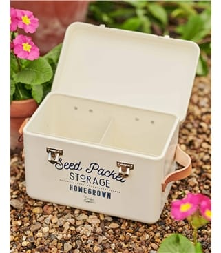 Burgon & Ball Seed Packet Storage Tin with Leather Handles