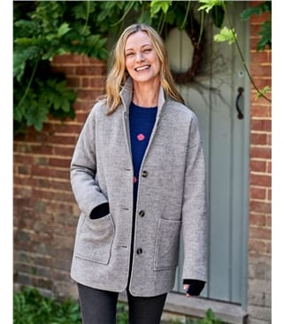 Veste col tailleur en laine bouillie - Femme - Pure Laine