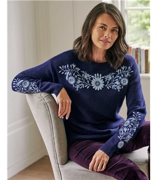 Embroidered Flower Knitted Sweater