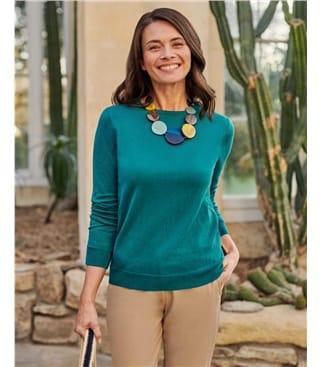 Pullover mit Rundhalsausschnitt aus Kaschmir und Baumwolle für Damen