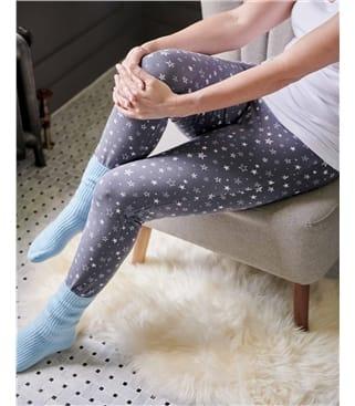 Cozy Print Bamboo Cuffed Leggings