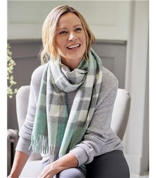 Merino Lambswool Wide Check Scarf