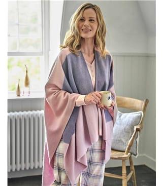 Gewebter Umhang mit Karomuster aus reiner Wolle für Damen