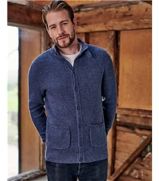 Funnel Neck Rib Button Cardigan
