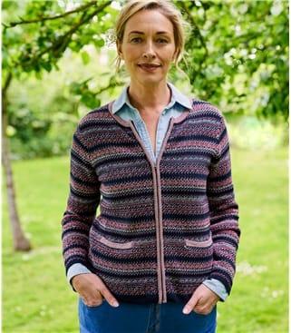 Cardigan zippé à rayures - Femme - Pur Coton