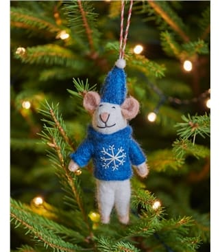 Marty Mouse with Bell Christmas Decoration