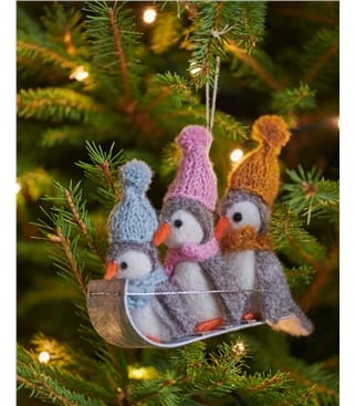 Trio of Penguins on a Sleigh Christmas Decoration