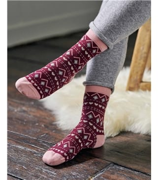 Womens Bamboo Heart Fairisle Sock