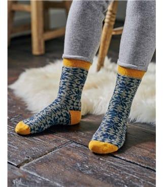 Womens Lambswool Fairisle Ankle Socks