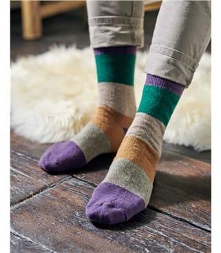 Chaussettes rayées - Homme - Laine d'Agneau mélangée