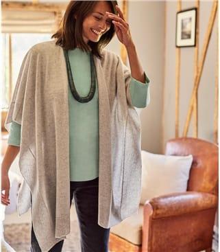 Womens Cashmere & Merino Blend Blanket Wrap