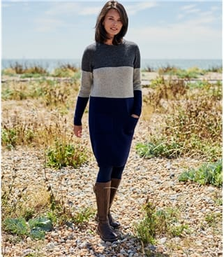 Womens Lambswool Colour Block Tunic