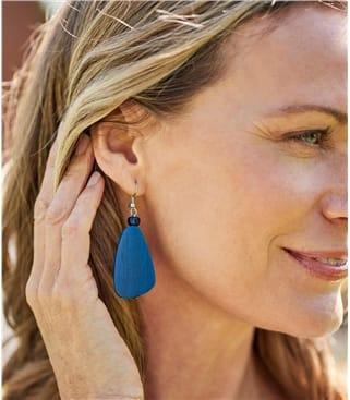 Boucles d'oreilles en forme de galet - Femme - Bois