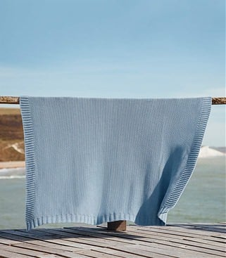 Image of 100% Cotton Moss Stitch Blanket 1size Light Blue