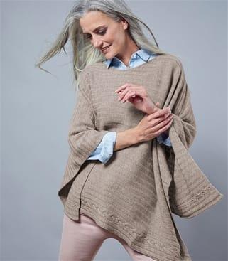 Poncho aus gerippter Merino- und Kaschmirwolle für Damen